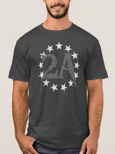2A 2nd                             Amendment                             13 Stars American Flag (Gray) T-Shirt