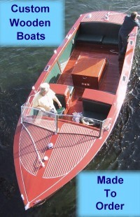 http://www.classic wooden runabouts, extended cockpit runabouts, rear engine runabouts, utility runabouts, sport boats, racing runabouts, launches and speedboats - custom made to order